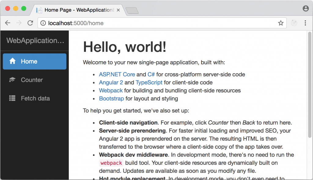 Generated Angular application homepage